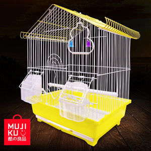 MUJI KU Aviculture Tool Pet Supplies Equipped Standing Stick Food Window Handles Trays Bird Cage Bird House Shape Parrot Cage