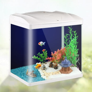 Cheap Desktop Mini Grass Aquariums Ecological Fish Tank LED Aquarium Goldfish Bowl  Aquatic Pet Supplies with Mute Pump