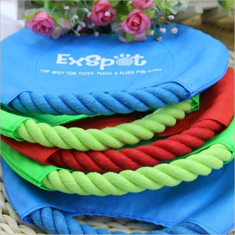 1pc Durable Pet Dog Flying Discs Toy High Quality Nylon Big Dog Chew Rope Toy Dog Interactive Toy