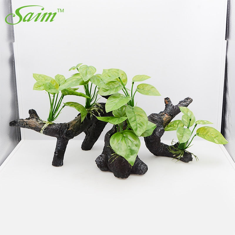 Saim Artificial Plant Arch Style Fish Tank Emulational Plants Acuario Sprouts Wood Aquarium Ornament Fish Tank Decoration Large