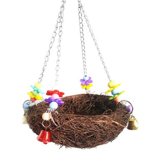 Natural Rattan Nest Birds Swing Parrot Cage Hanging Toy with Bells Cage Perch Stand For Parrot Climb Chew Toys