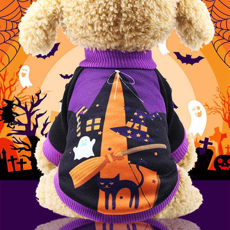 Halloween Costume For Dog Puppy Chihuahua 2018 Pumpkin Witch Printed Holiday Pet Clothes Teddy Sweatshirts Ropa Perro