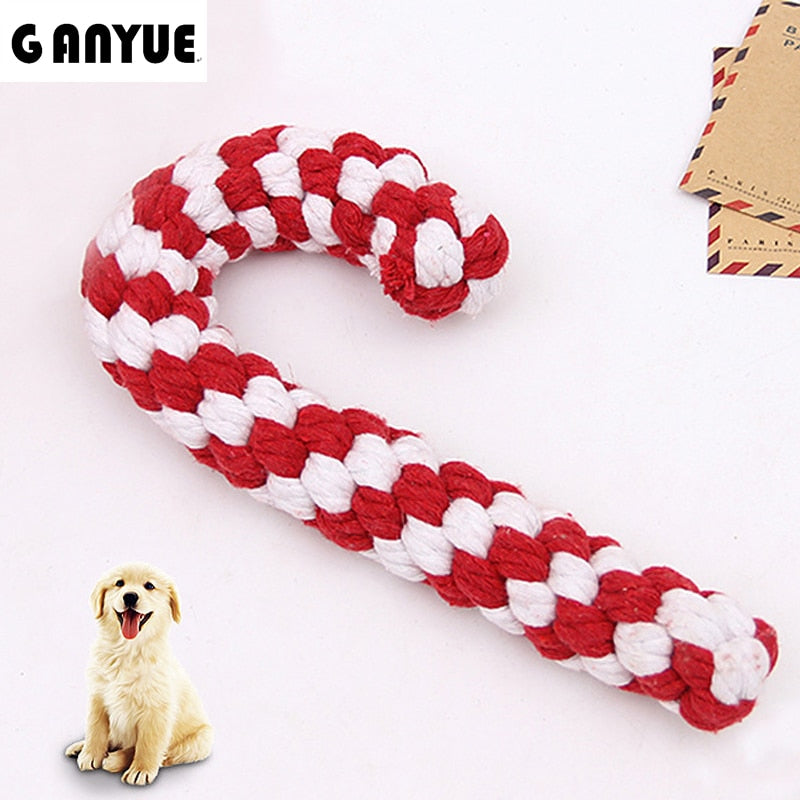 Ganyue Pet dog Christmas cane toy supplies Cotton rope braided knot molar toy Biting dog clean tooth toy rope santa cane