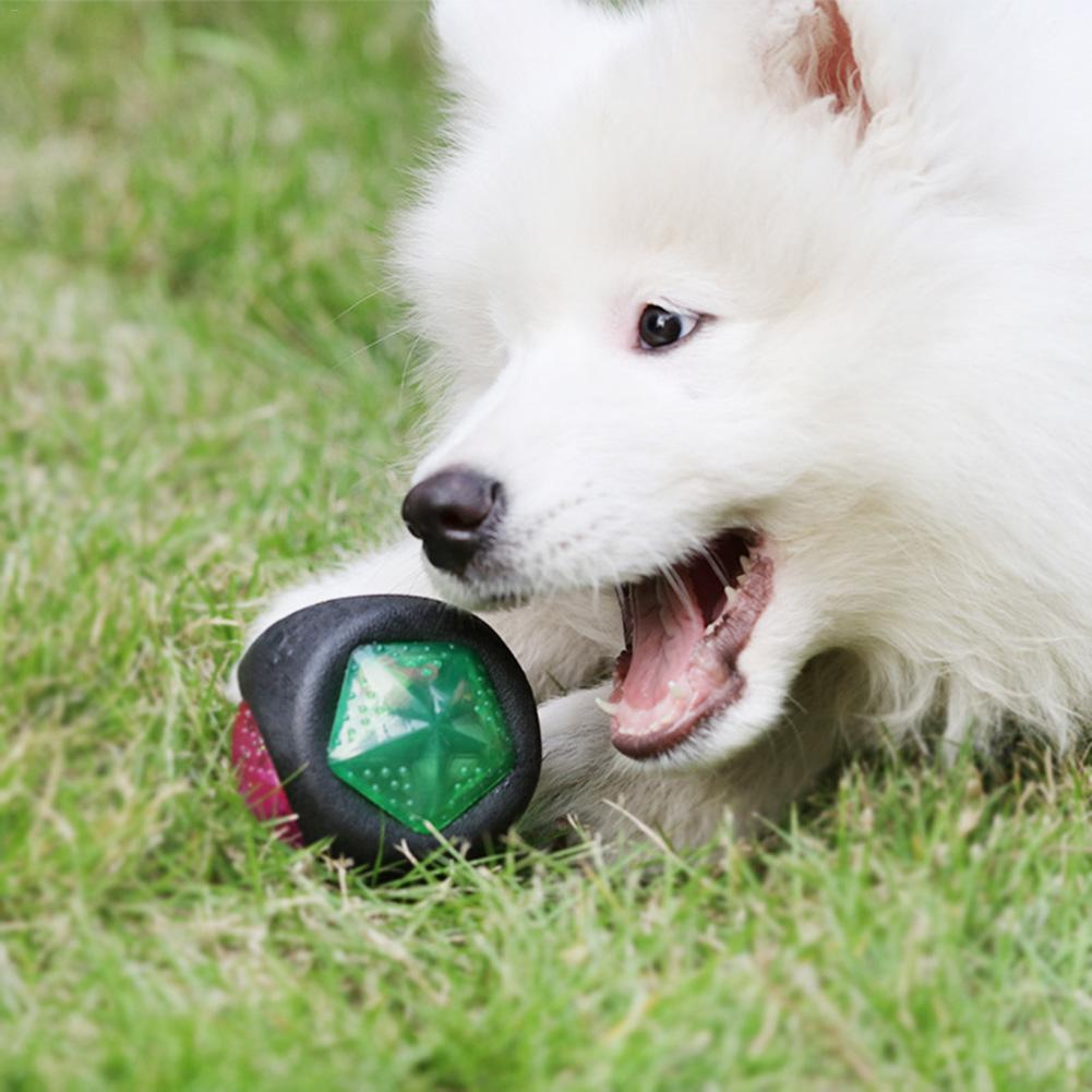 Interesting Dog's Bouncy Toy Ball Bite- Resistant Teeth Safe Grinding Training Ball With Sound And Light Toys Pet Products