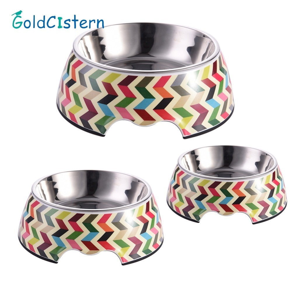 Stainless Steel Pet Feeding Bowl Non-slip Dog Feeders Multiple Sizes Cat Food Water Bowl Water Food Dish Pet Storage S/M/L