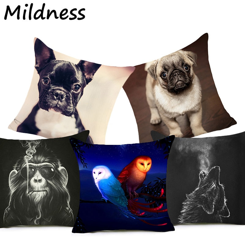Dog Fox Owl Wolf Printed Polyester Cushion Cover Decorative Office Home Throw Pillow Cover Cojines Kussenhoes Almofada Coussin