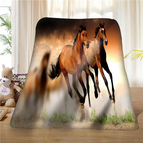 Custom Animals Horses_Country (1)Blanket Soft Fleece DIY Your Picture Decoration Bedroom Sofa Multi Size#929-02-002-6