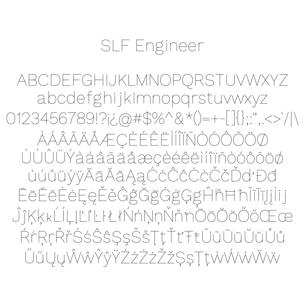 slf engineer single line san serif font for engraving