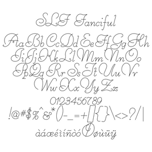 slf fanciful single line font with extended characters for danish and spanish languages