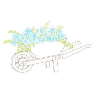 wheelbarrow silhouette svg single line design