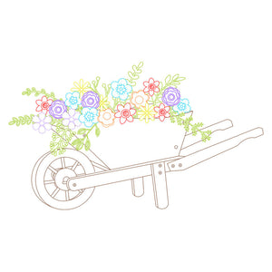 wheelbarrow with flowers svg file for cricut and silhouette machines