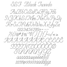Load image into Gallery viewer, slf black tuxedo single line sketch pen font for greeting cards and foil quill