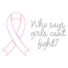 Load image into Gallery viewer, who says girls can't fight breast cancer awareness card svg downloadable design for silhouette
