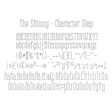 Load image into Gallery viewer, character map - the skinny single line fonts hairline single stroke
