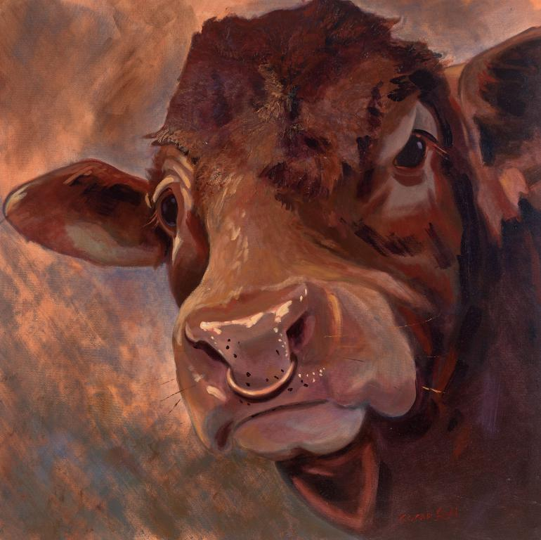 """Bernard the Ruby Red Bull"" by Sarah Bell Blank Greeting Card"