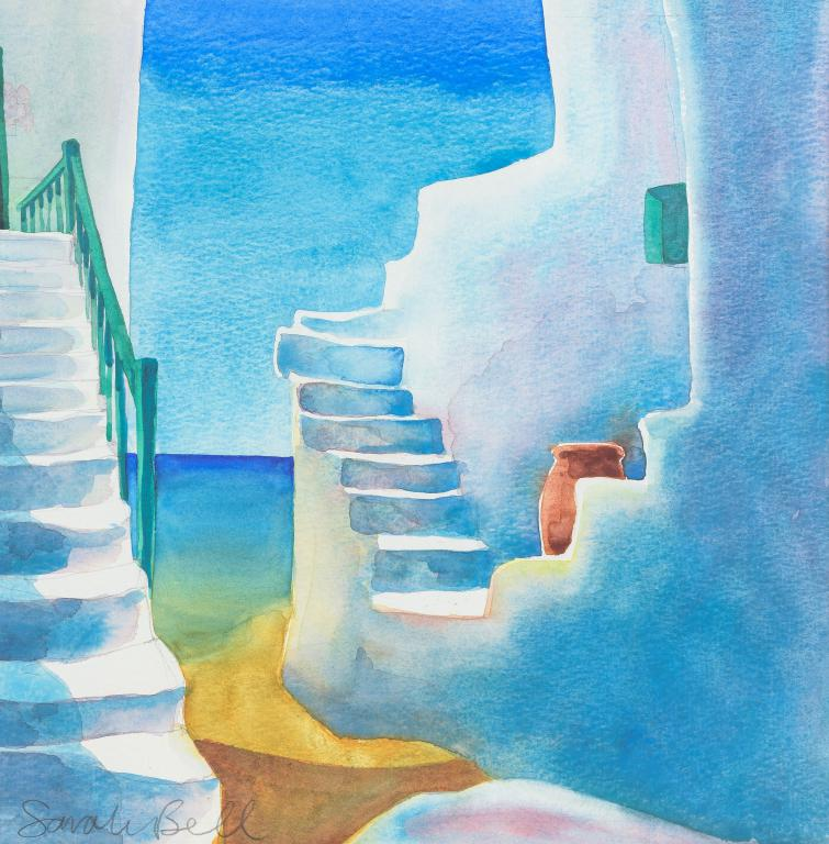'Greek Steps' Original Watercolour Painting
