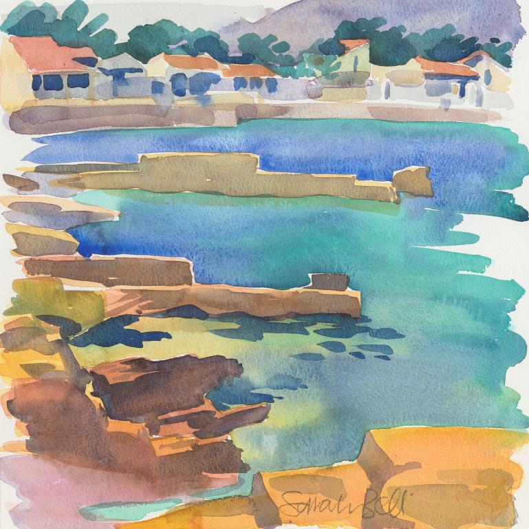 'A Majorcan Jetty' Original Watercolour Painting