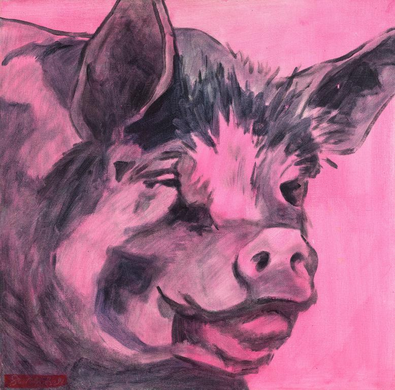 "Davids friendly Pig ""Original on Canvas by Sarah Bell"