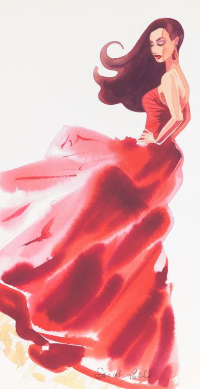 """Lady in Red by Sarah Bell Blank Greeting Card"
