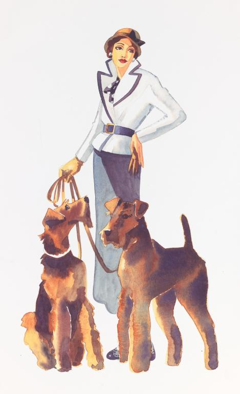 """Lady walking her Airedale"" by Sarah Bell Blank Greeting Card"