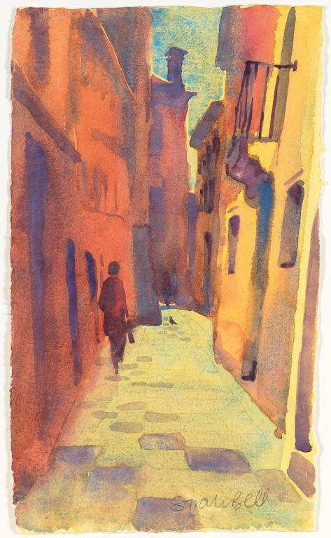 """ Venice Street""by Sarah Bell Blank Greeting Card"