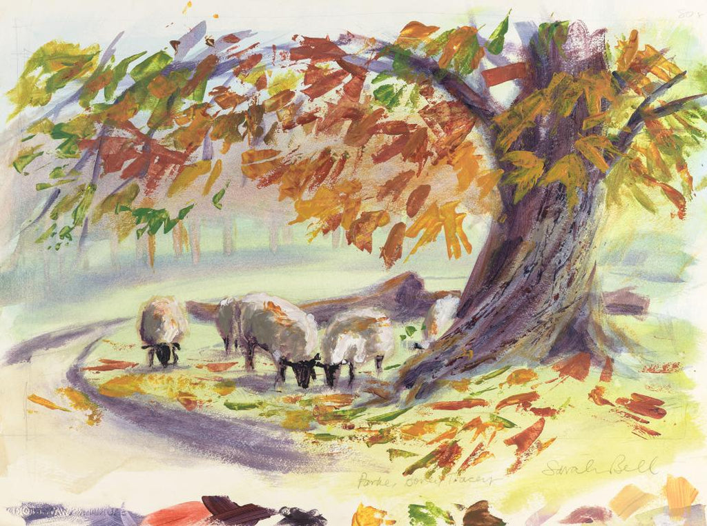 """Sheep in Parke"" by Sarah Bell Blank Greeting Card"