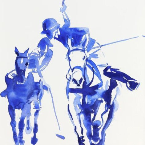 """2 Polo Players Blue Wash""Original Watercolour by Sarah Bell"