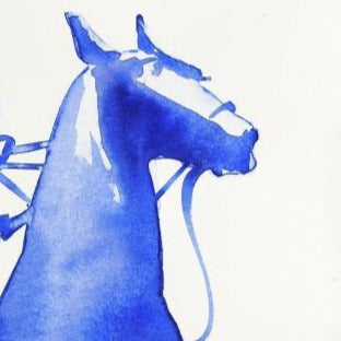 """Single Polo Player Blue Wash""Original Watercolour by Sarah Bell"