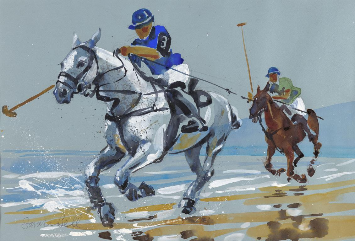 """Powerful Grey Galloping ""Polo series""Original Watercolour by Sarah Bell"