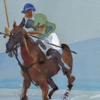 """Galloping Grey on Watergate Bay Polo match"" Original by Sarah Bell"