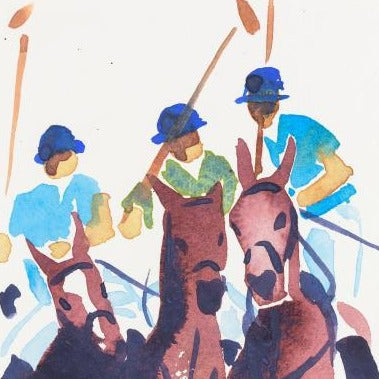 """Group of  Polo Player's""Original Watercolour by Sarah Bell"