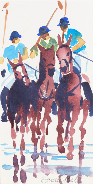 """Polo at Watergate Bay 3"" by Sarah Bell Blank Greeting Card"