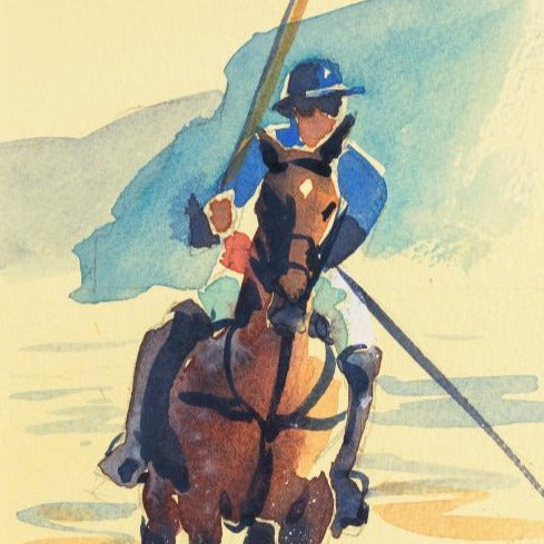 """Single Polo Player""Original Watercolour by Sarah Bell"
