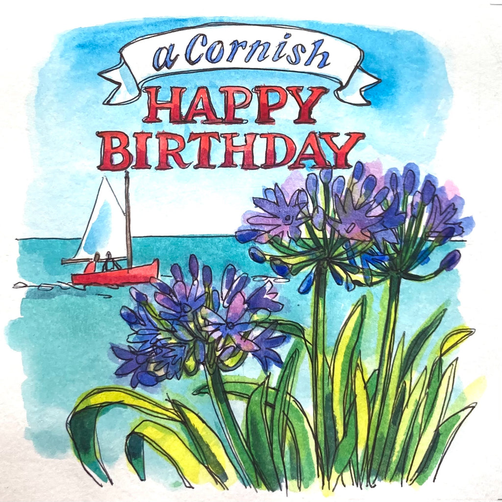 Cornish Agapanthus Birthday Card by Sarah Bell