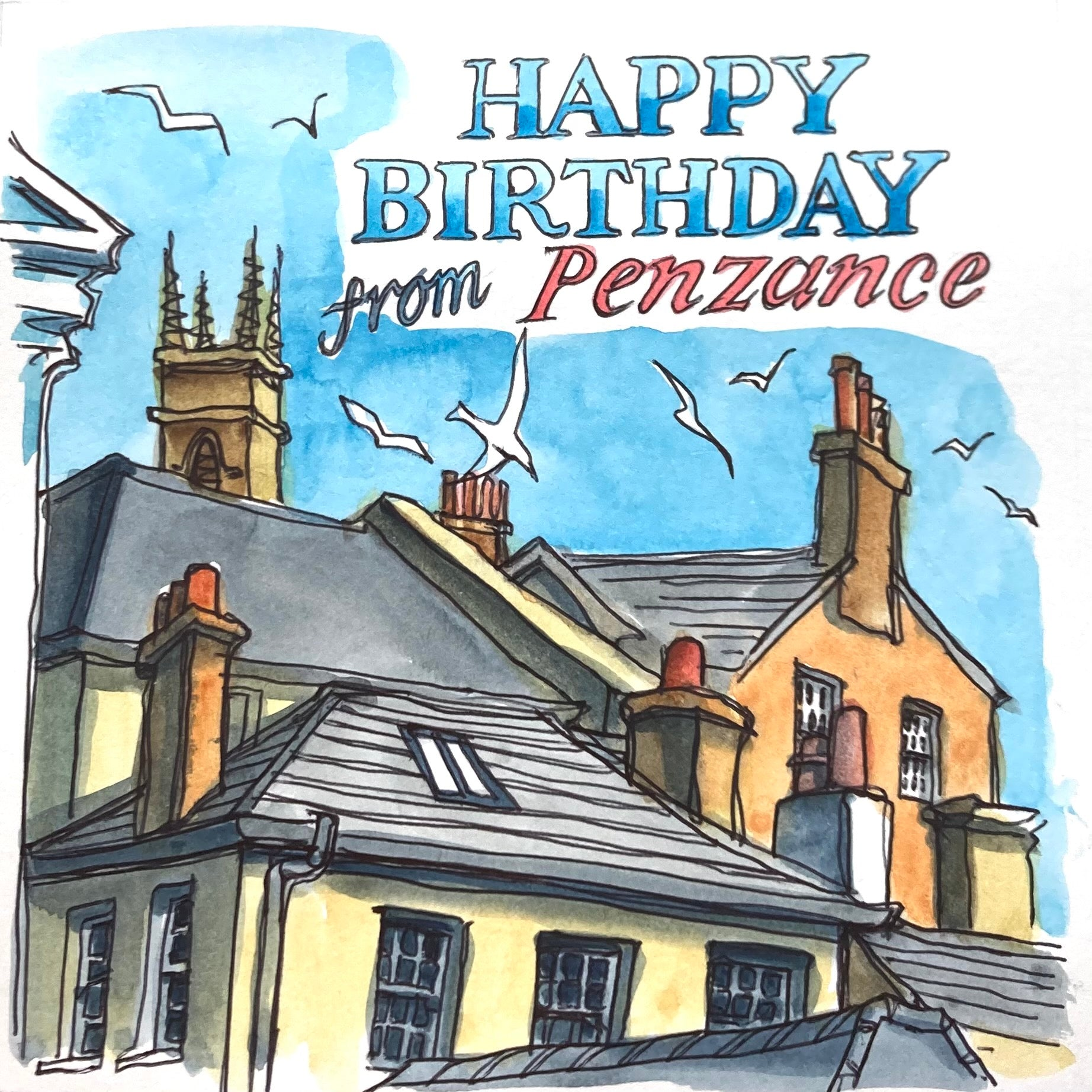 Penzance Rooftops Birthday Card by Sarah Bell
