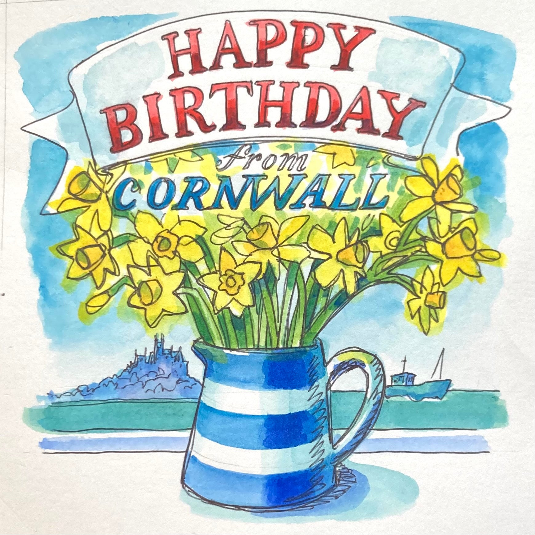 Cornish Narcissi Birthday Card by Sarah Bell