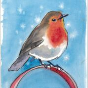 Winter Robin from an original watercolour by Sarah Bell
