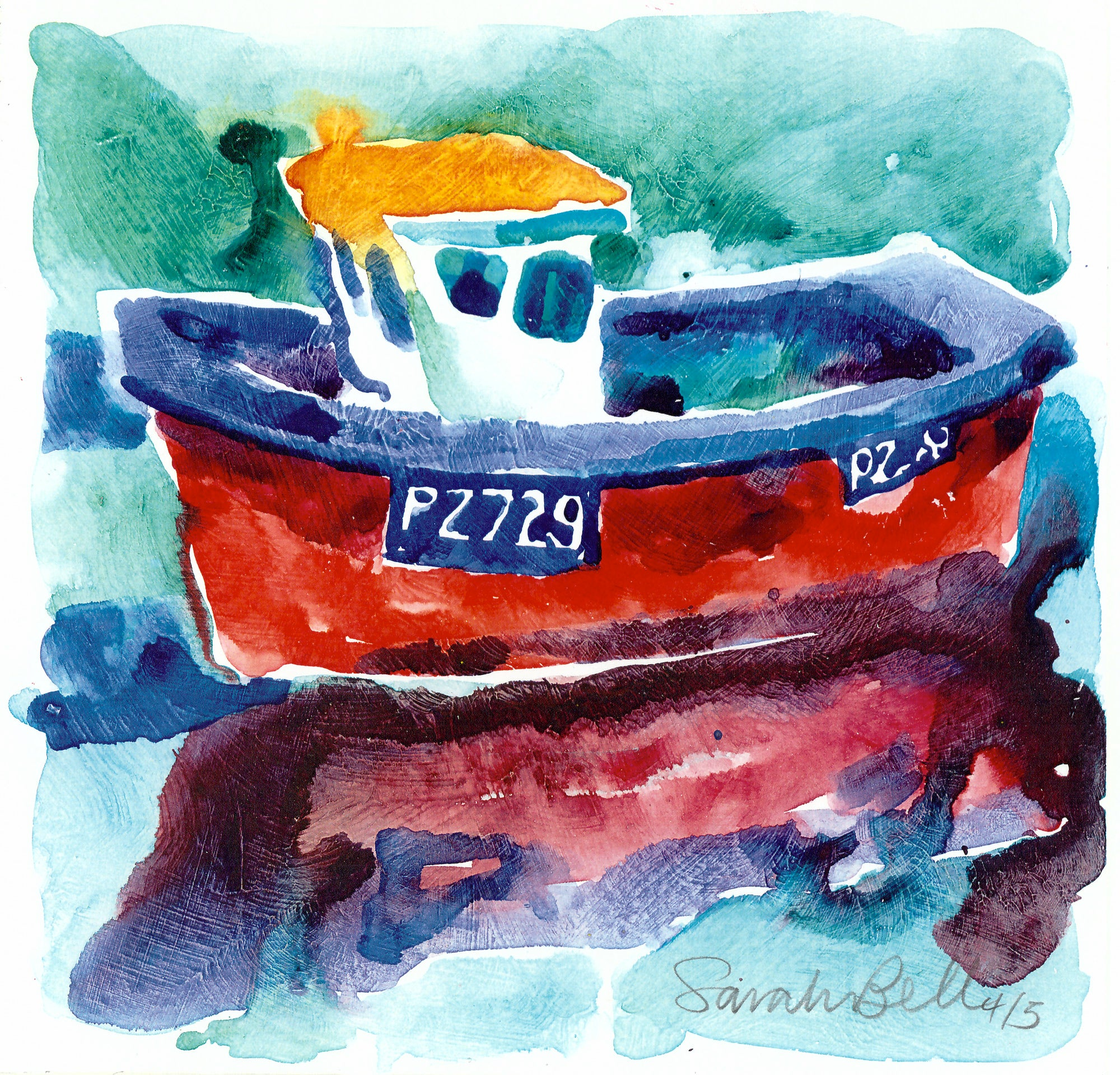 """Little red Boat"" by Sarah Bell Blank Greeting Card"