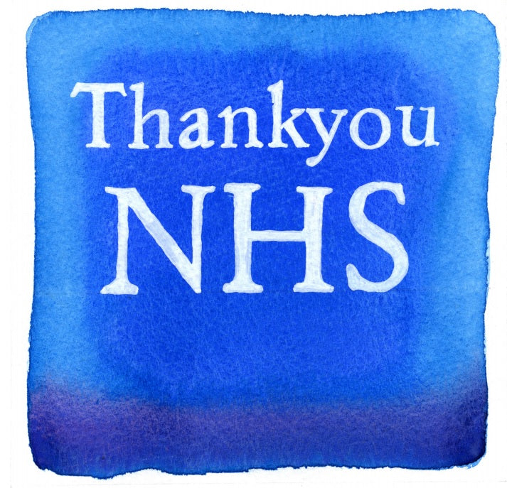 """Thank You NHS"" In Deep Ocean AB21 Colour Wash Series by Sarah Bell"