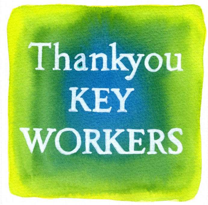 """Thank You Key Workers "" In Lemon and Lime  AB22 Colour Wash Series by Sarah Bell"