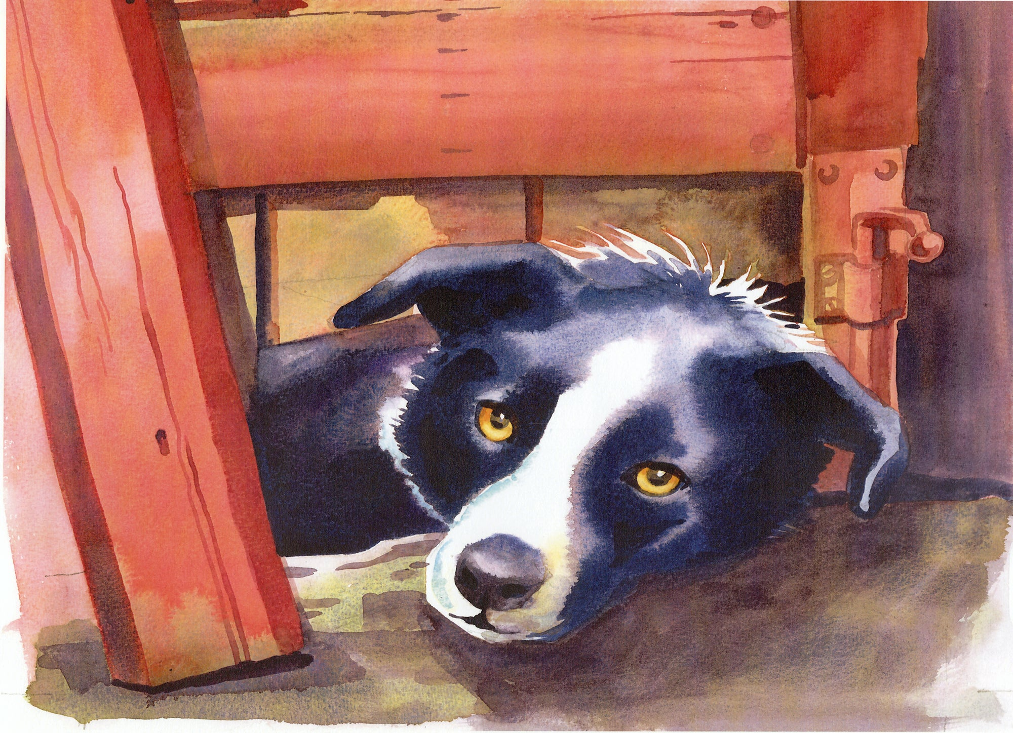 """ Trigger the Collie""by Sarah Bell Blank Greeting Card"