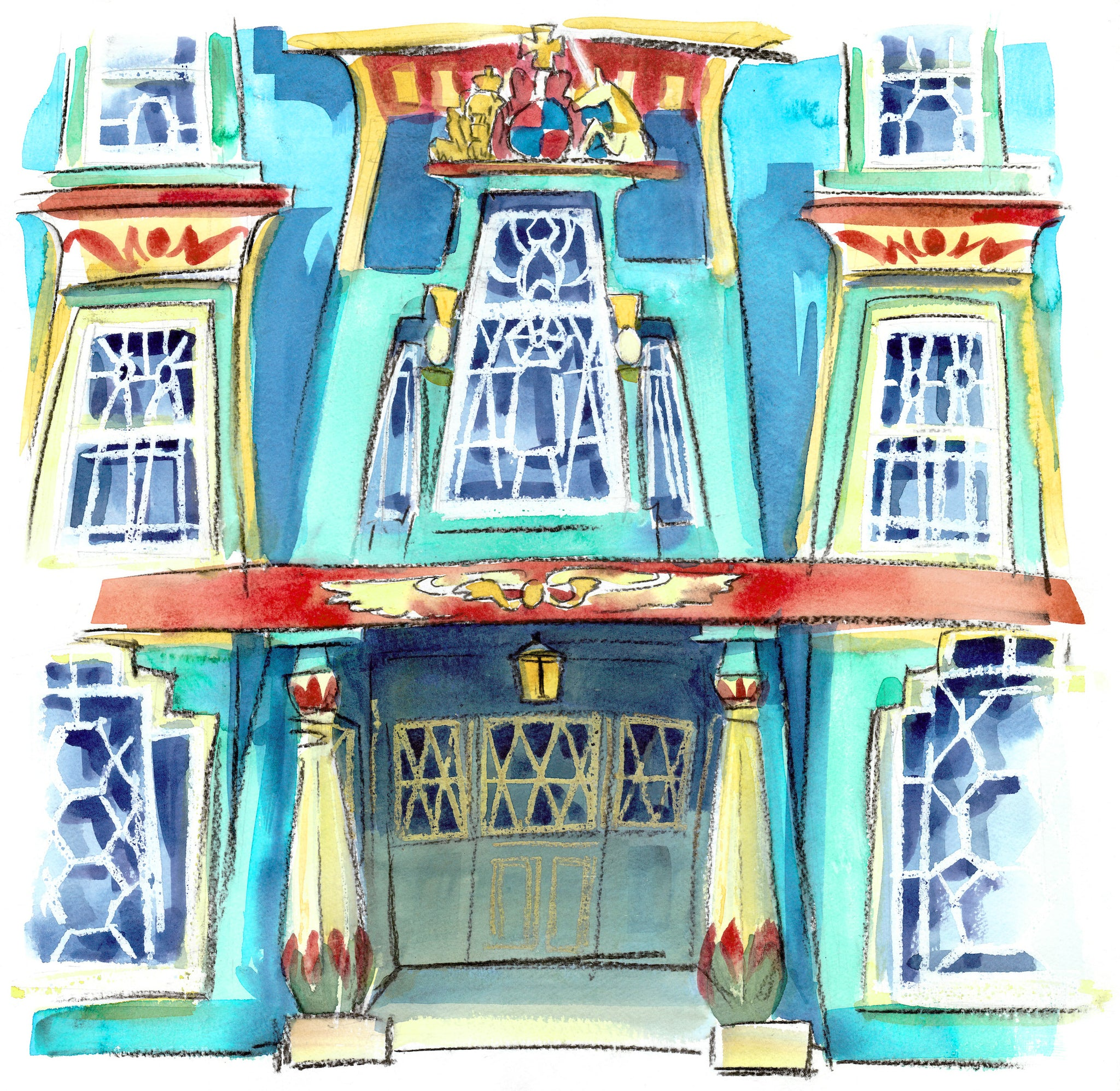 """Eygptian House Penzance by Sarah Bell Blank Greeting Card"