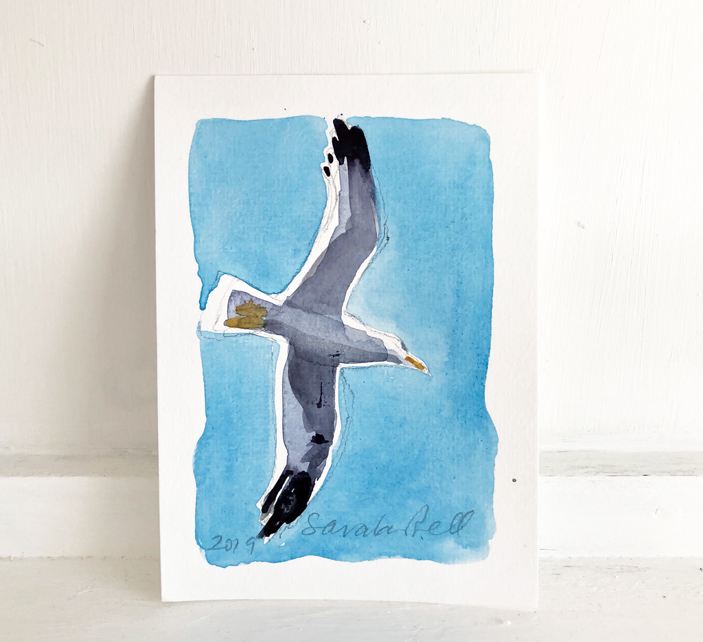 Tiny Original Watercolour of a Herring Gull no 1