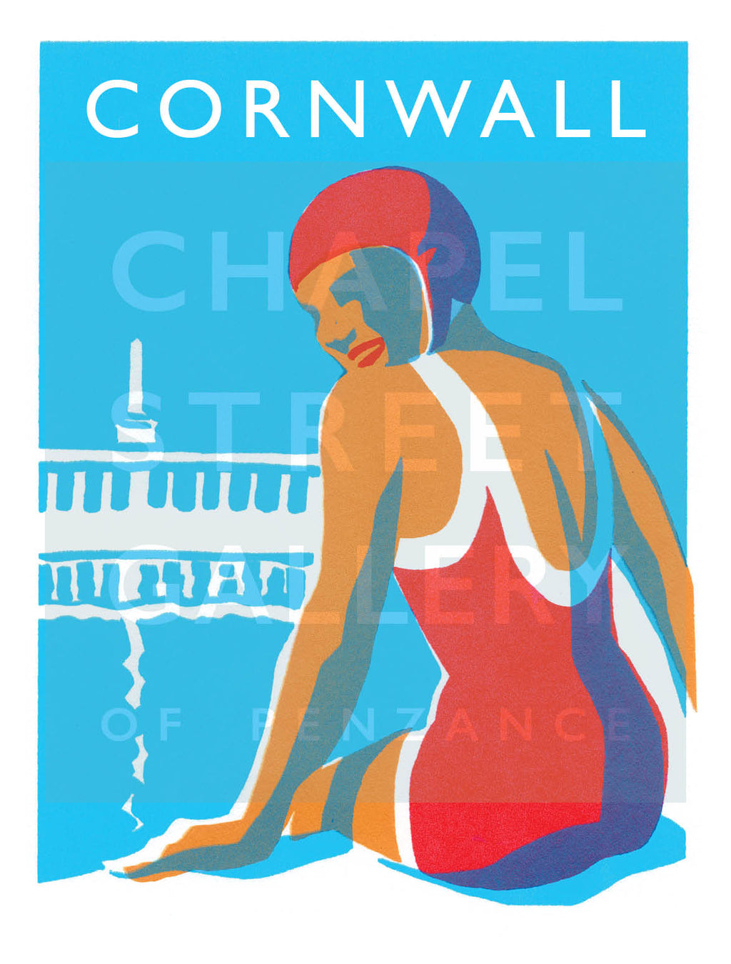 'Lido Glamour Cornwall 2' Signed Sarah Bell A4 Giclee Print