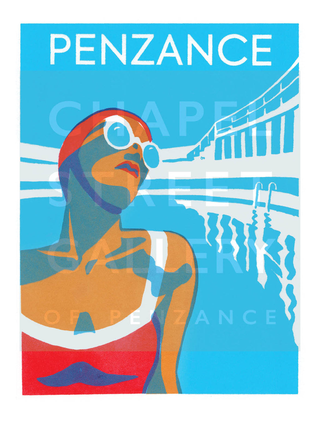 'Lido Glamour 1 Penzance' Signed Sarah Bell A1 Giclee Print