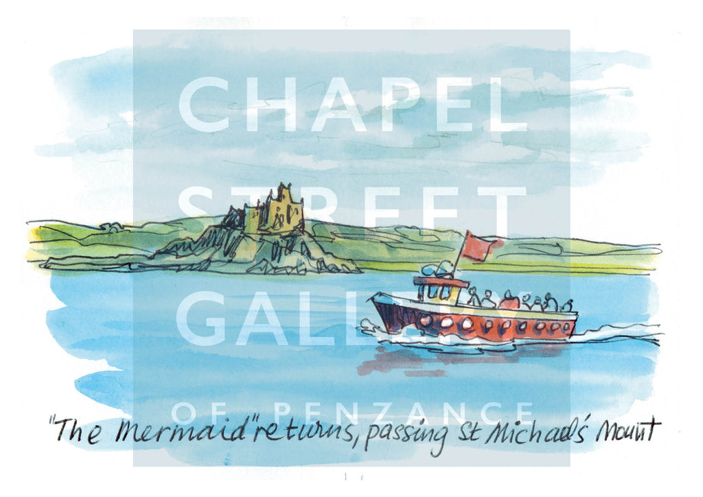 The Mermaid Passing St Michael's Mount Slip  by Sarah Bell Art card