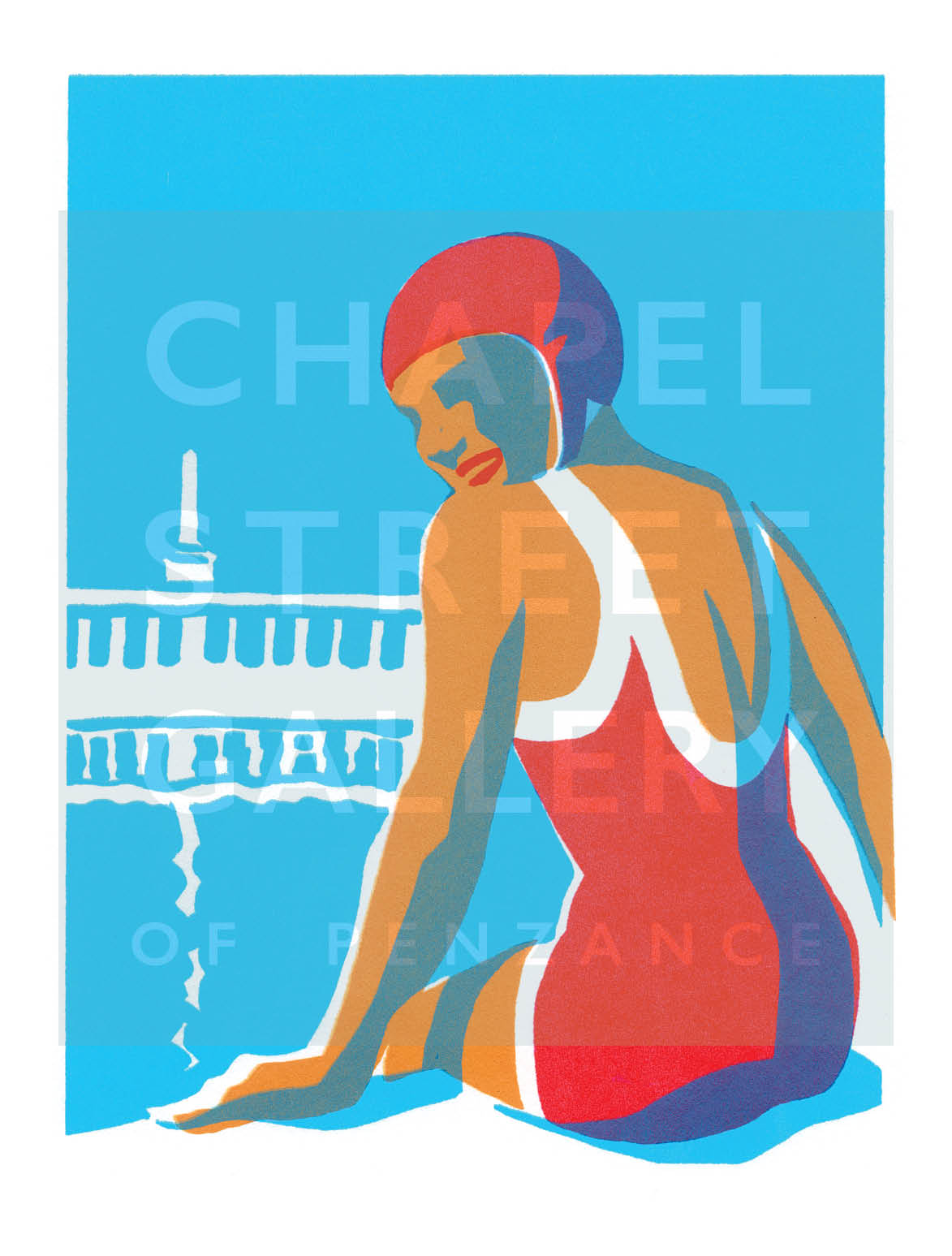 'Lido Glamour  2' Signed Sarah Bell A4 Giclee Print