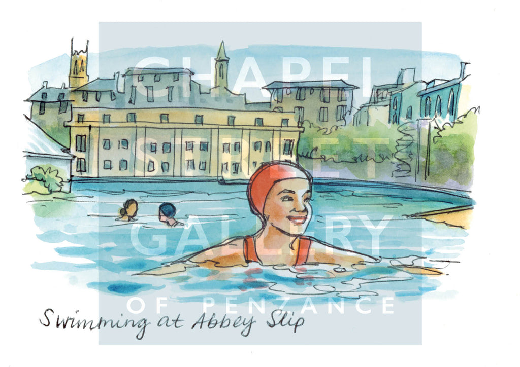 Swimming in Abbey Slip PZ by Sarah Bell Art card