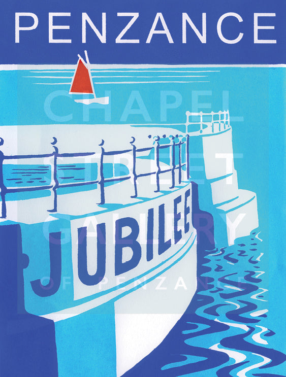 Jubilee Pool Penzance' Signed Sarah Bell A1 Giclee Print
