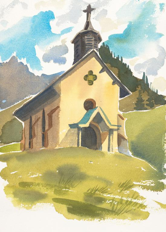 """Baroque Chapel Morzine"" Original by Sarah Bell"